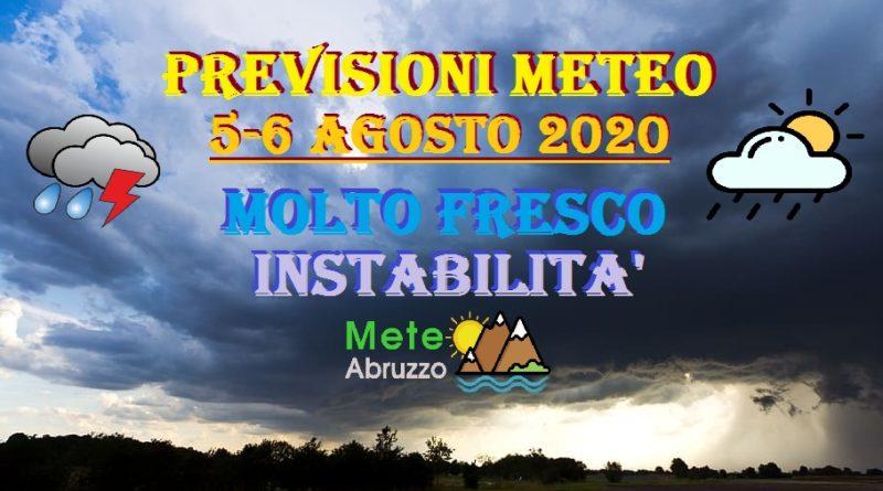 Previsioni meteo OGGI e DOMANI 5-6 Agosto 2020: MOLTO FRESCO e diffusa instabilità! – Meteo Abruzzo