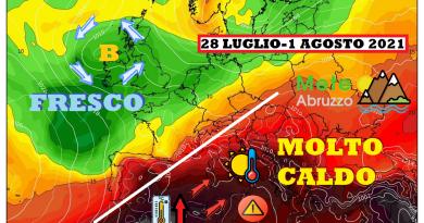 METEO ABRUZZO: nuova fase MOLTO CALDA fino al weekend con valori vicini ai 40°C